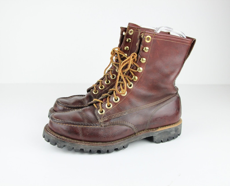 43bba1d151f Vintage Moc Toe Leather Work Boots, MENS SIZE 8 D, Heavy Brown Leather Lace  Up Boots, Brass Eyelets, Vibram Soles, Moccasin Round Toe Boots