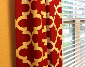 Coral White Curtains Custom Print Choice  Rod Pocket  63 72 84 90 96 108 or 120 Long by 24 or 50 Wide