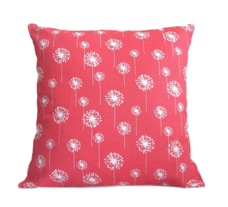 Coral Dandelion Pillow Cover Removable Covers Throw Pillows Etsy