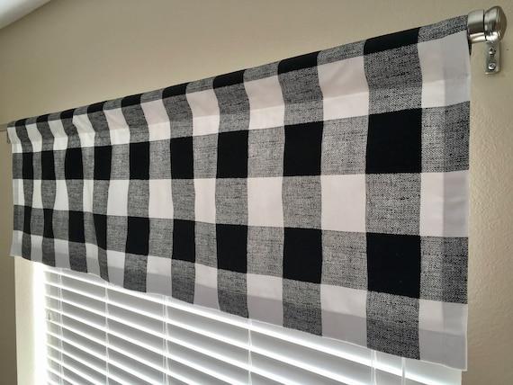 Black And White Buffalo Plaid Check, Black Valance Curtains