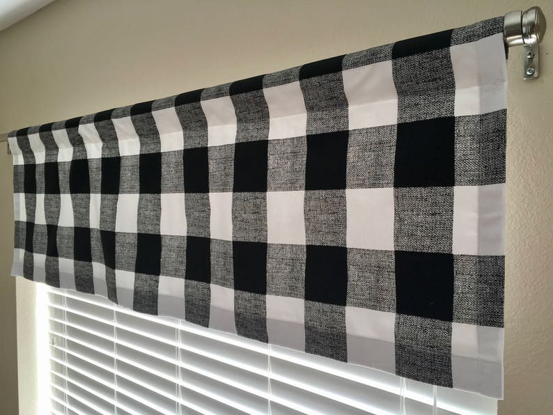 Black And White Buffalo Plaid Check Window Valance Black Checked Curtains Large Check Kitchen Kids Nursery Dining Room Valances