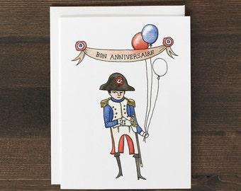 Funny Birthday Card in French Napoleon Bonaparte Bon Anniversaire