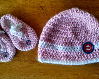 9c997d56a5d Crocheted PINK Chicago Cubs Baby Hat   Bootie Set