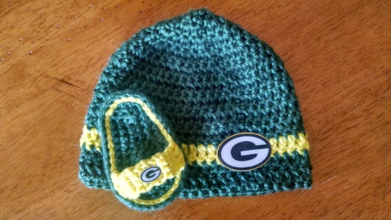 ... cuffed knit hat 244a9 9f54f  coupon code for crocheted green bay  packers baby hat sandals set etsy 56b32 1124e 11a7862d5
