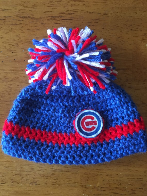 eb2b11b8dbe Crocheted Chicago Cubs Baby Hat