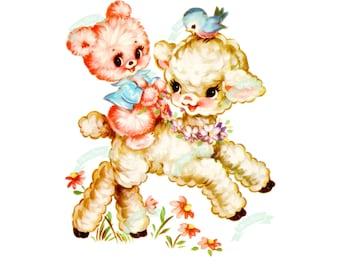 Vintage Digital download, Fluffy Pink bear, Vintage greeting card, Printable, Birthday Cards, Scrapbooking, collage sheet