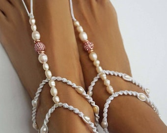 Beach Wedding Barefoot Sandals with a Touch of Pink and Rose Gold, Freshwater Pearl Barefoot Sandals, Bridal Barefoot Sandals, 1 Pair