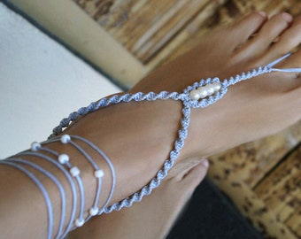 Gray Beach Wedding Shoes, Pearl Barefoot Sandals, Macrame Barefoot Sandals, Wedding Anklets, 1 Pair