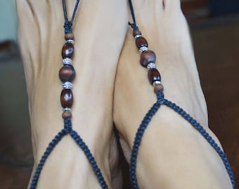 Unisex Tribal Barefoot Sandals, Wood Macrame Barefoot Sandals, Women and Men Barefoot Sandals, 1 Pair