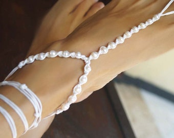 Freshwater Pearl Barefoot Sandals, Wrap Wedding Barefoot Sandals, Beach Wedding Shoes, 1 Pair