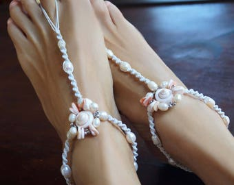 Beach Wedding Barefoot Sandals, Pearl Barefoot Sandals, Boho Wedding Sandals, 1 Pair