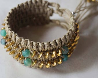 Aquamarine Macrame Cuff, Bold Boho Bracelet, Gold - Aqua Green Cuff with Tan Color Macrame