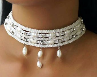 White Bridal Pearl Choker, Rhinestone Choker, White Wedding Choker, Bridal Choker Necklace