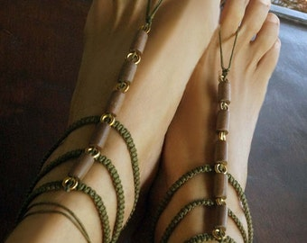 Gladiator Barefoot Sandals, Boho Barefoot Sandals, Earth Tone Boho Sandals, 1 Pair