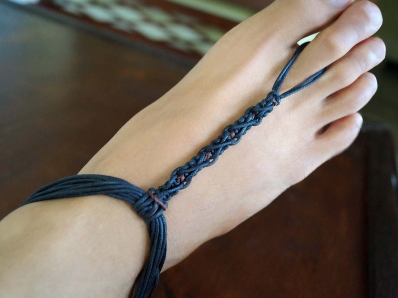 648a8cd4b2dbc Black Barefoot Sandals Men with a Touch of brown Men Macrame