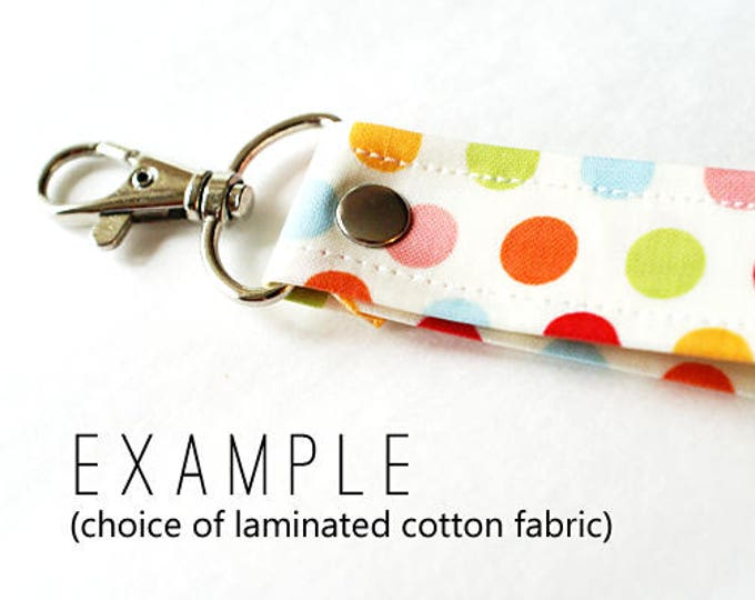 Wrist strap or key fob in choice of laminated cotton fabric
