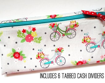 Vintage bicycle print cash organizer for Dave Ramsey budget