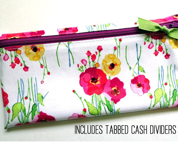 Watercolor floral laminated cotton cash or coupon organizer
