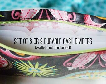 Blank tabbed cash dividers for envelope system | set of 6, 9, or 12