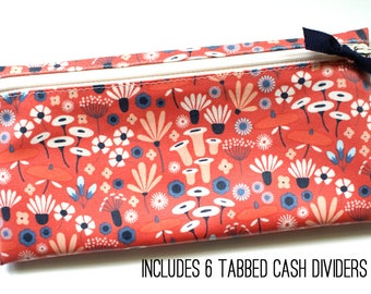 Coral wildflowers cash budget wallet