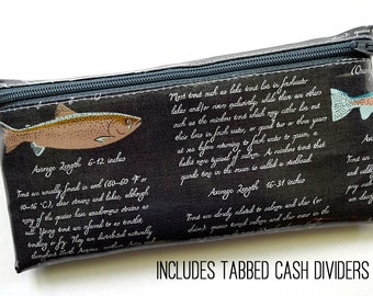 Trout envelope system wallet with six or nine cash dividers