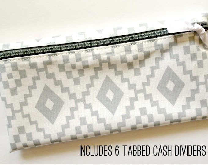 Gray & white cash organizer for Dave Ramsey budget