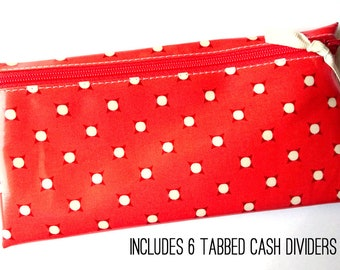 Vintage coral dot slim coupon organizer or budget wallet