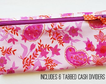 Fuchsia floral budget wallet with 6 tabbed dividers