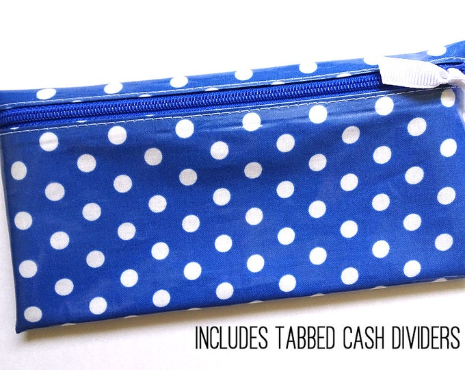 Blue and white polka dot cash organizer for Dave Ramsey budget