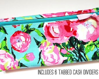 Aqua and pink floral cash budget wallet