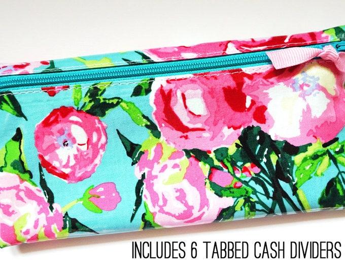 Aqua and pink floral cash budget wallet