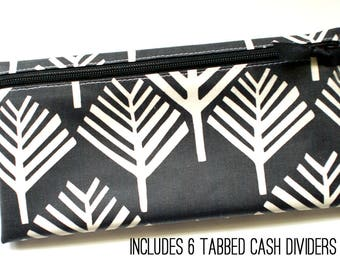 Black and off-white matte laminated cotton cash wallet