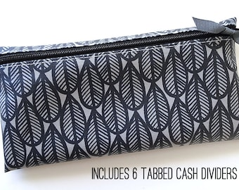 Gray and black cash wallet with six or nine dividers for Dave Ramsey budget