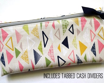 Cash budgeting wallet in retro triangles