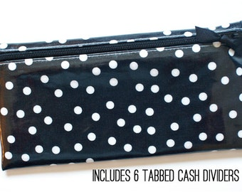 Black and white dot cash budget wallet with 6 dividers for envelope system
