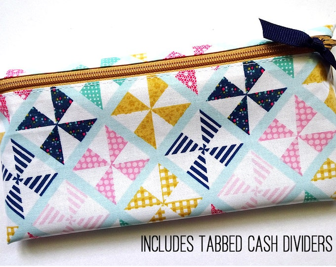 Pinwheel cash envelope wallet with six or nine cash dividers for Dave Ramsey budget