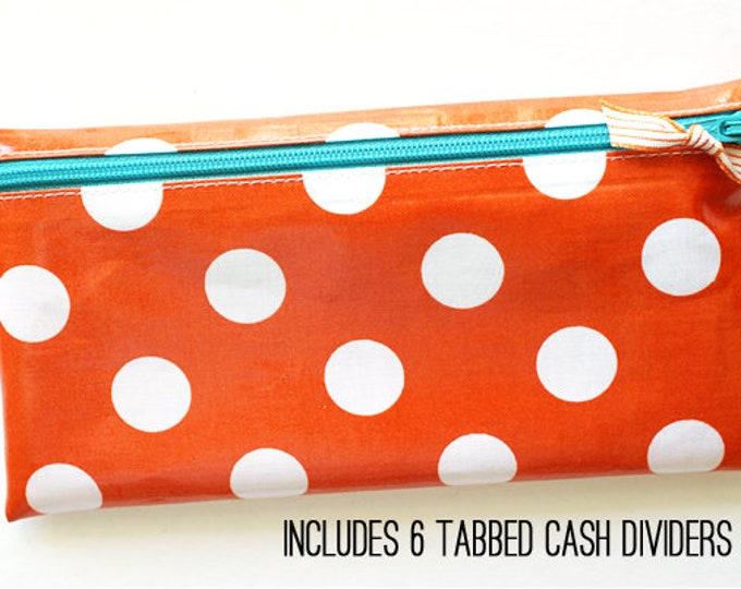 Orange and white dot cash envelope system wallet