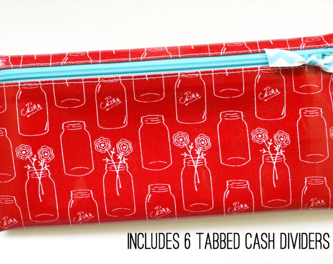 Red Mason jars cash or coupon organizer
