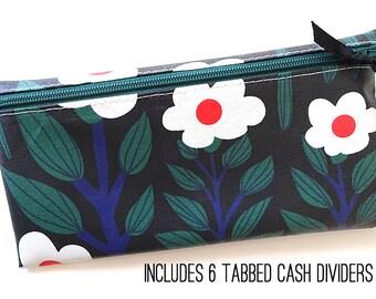 Matte black floral envelope system wallet