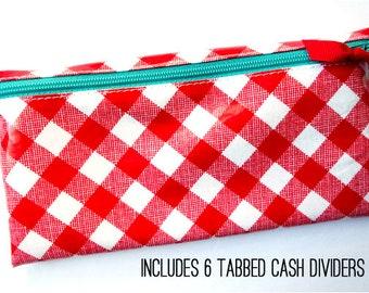 Red gingham envelope system cash wallet