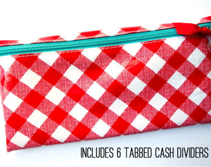 Red gingham envelope system cash wallet