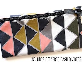 Triangle pattern matte laminated cotton cash or coupon organizer