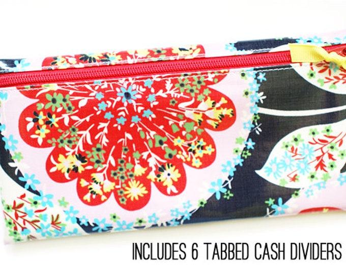 Navy floral cash envelope system budget wallet with dividers