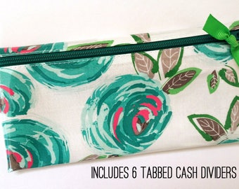 Budget wallet in teal floral with 6 or 9 tabbed cash dividers