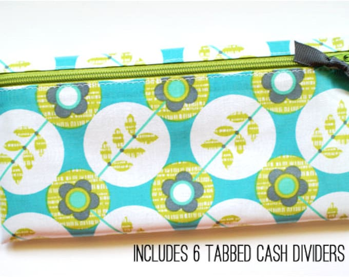 Turquoise and kiwi envelope system cash budget wallet