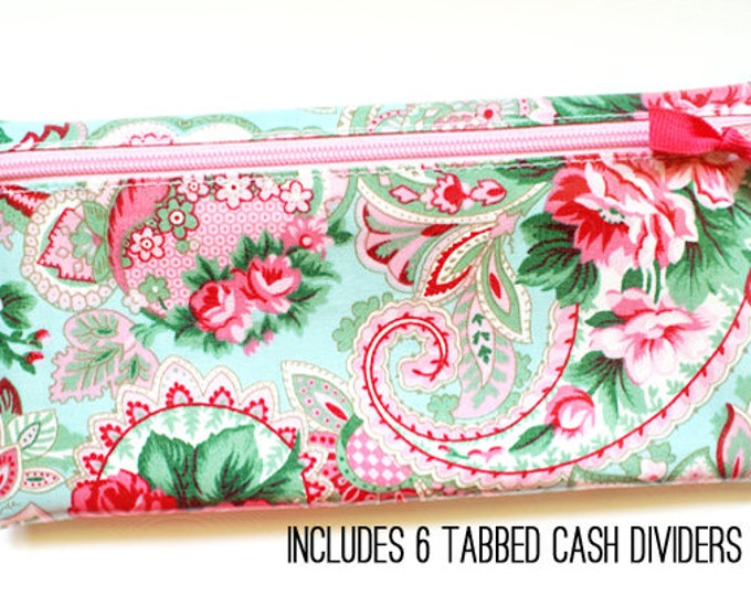 Roses and paisley Divide-It cash envelope system wallet