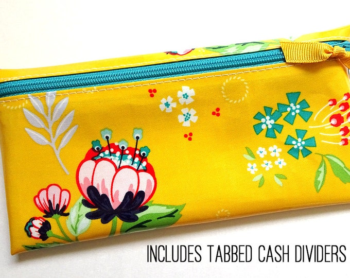 Yellow floral cash organization wallet with 6 or 9 tabbed dividers