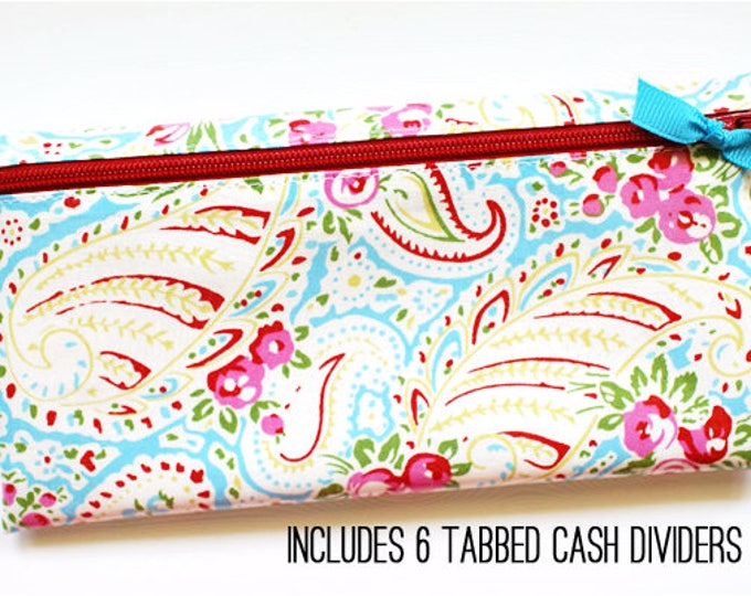 Paisley floral envelope system cash budget wallet