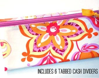 Pink floral cash envelope system wallet