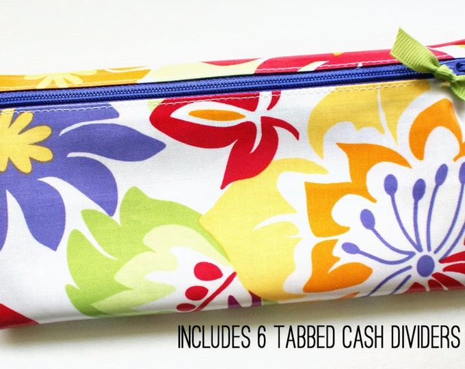 Multicolor floral cash organizer with dividers
